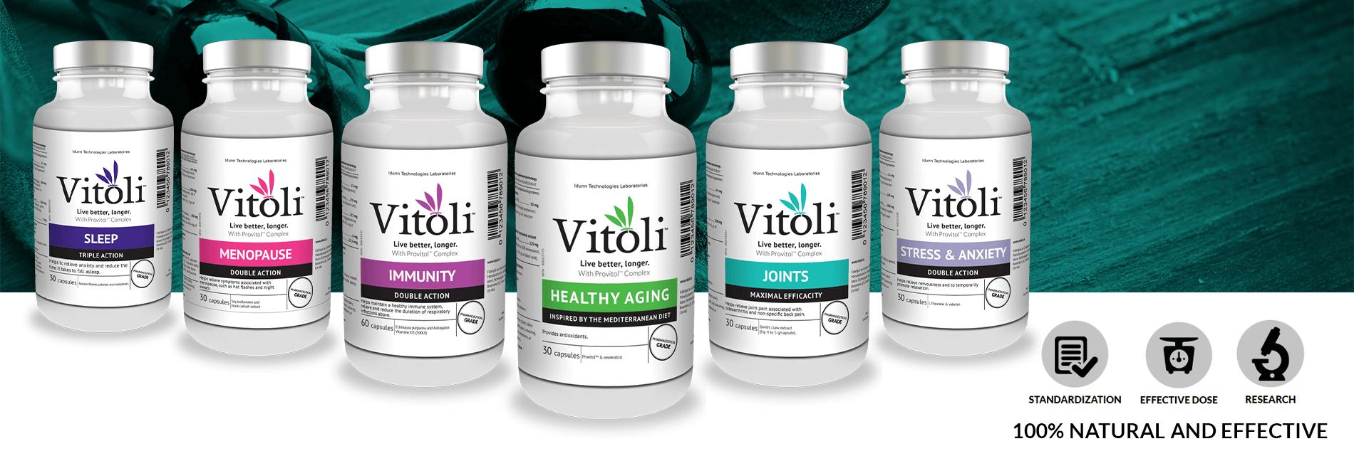 Bottles of Vitoli products